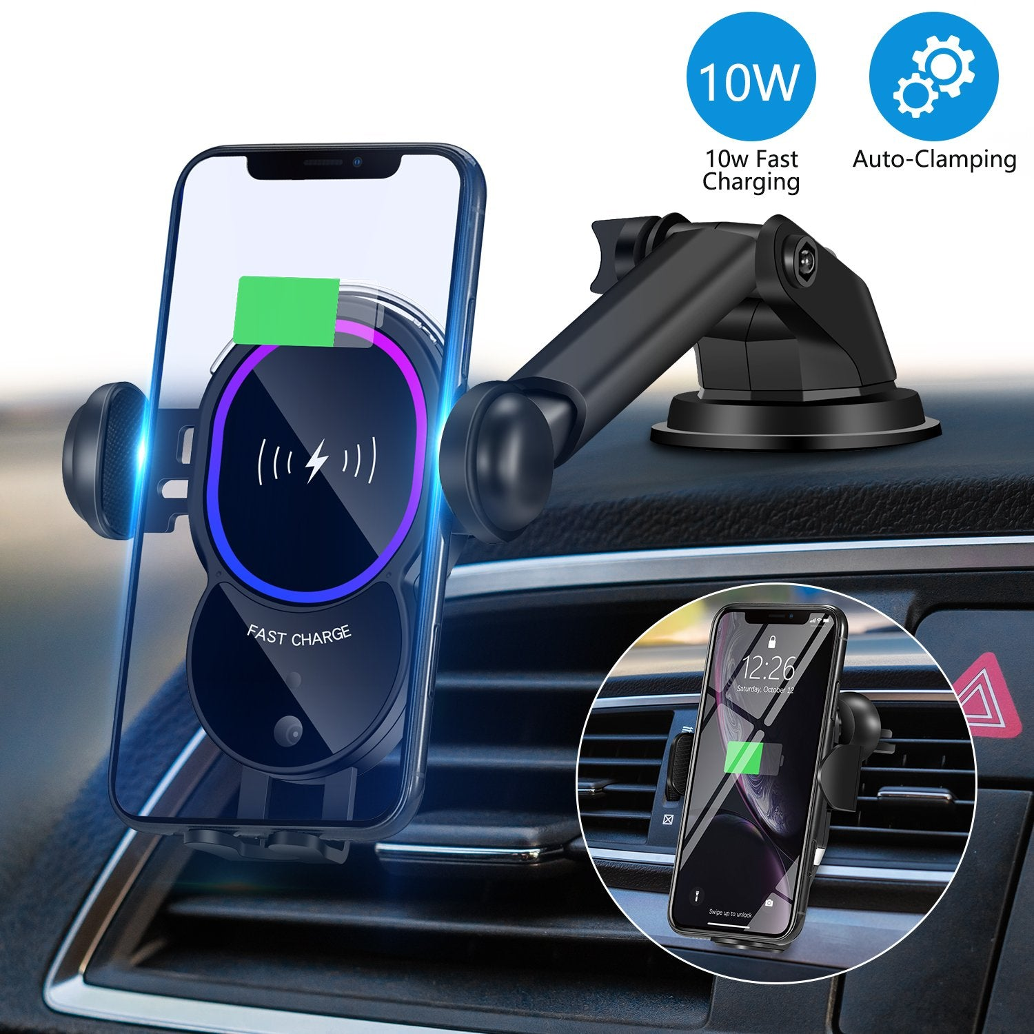 WALOTAR Wireless Car Charger, Triangle Linkage Auto-Clamping 10W Qi Fast Car Phone Mount Dashbroad Windshield Air Vent Holder Compatible with iPhone 11 Pro Max Xs XR X 8,Samsung S10 S9 S8 Note 10 etc