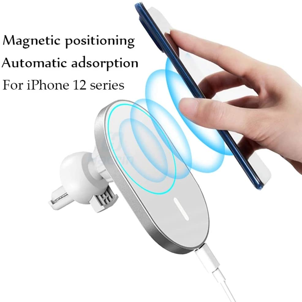 Design for MagSafe 15W Magnetic Car Vent Mount Charger Wireless Car Charger Fast Holder Charger Automatic Clamping 10W/7.5W/5W Compatible with iPhone 12 Series 12 Pro Max MagSafe Charger