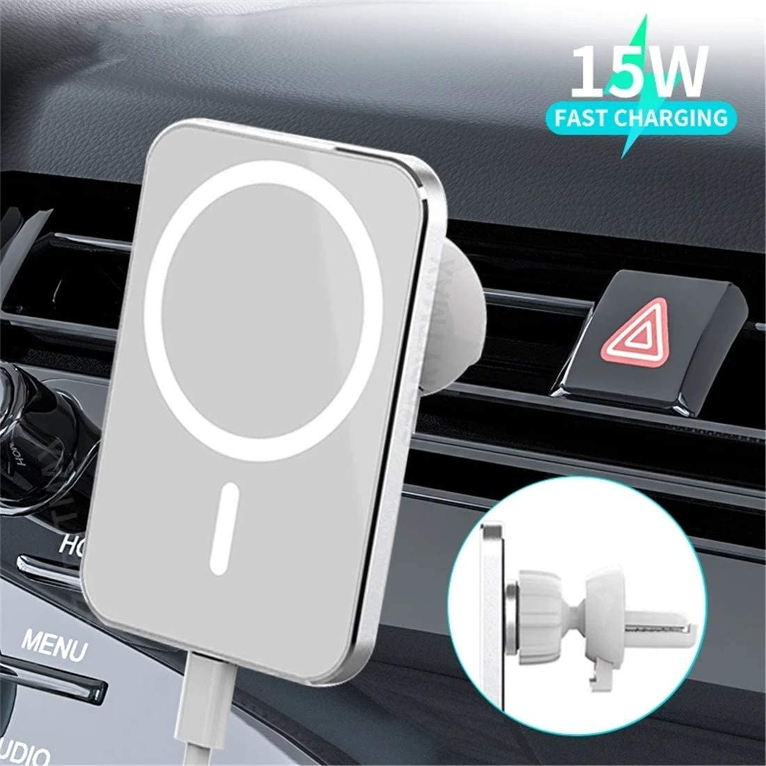 Walotar Magnetic Car Air Vent Mount Wireless Charger Phone Holder Compatible with MagSafe iPhone 12 Series 15W Fast Charging Automatic Clamping 10W/7.5W/5W Design for MagSafe iPhone 12 iPhone 12 Pro Max