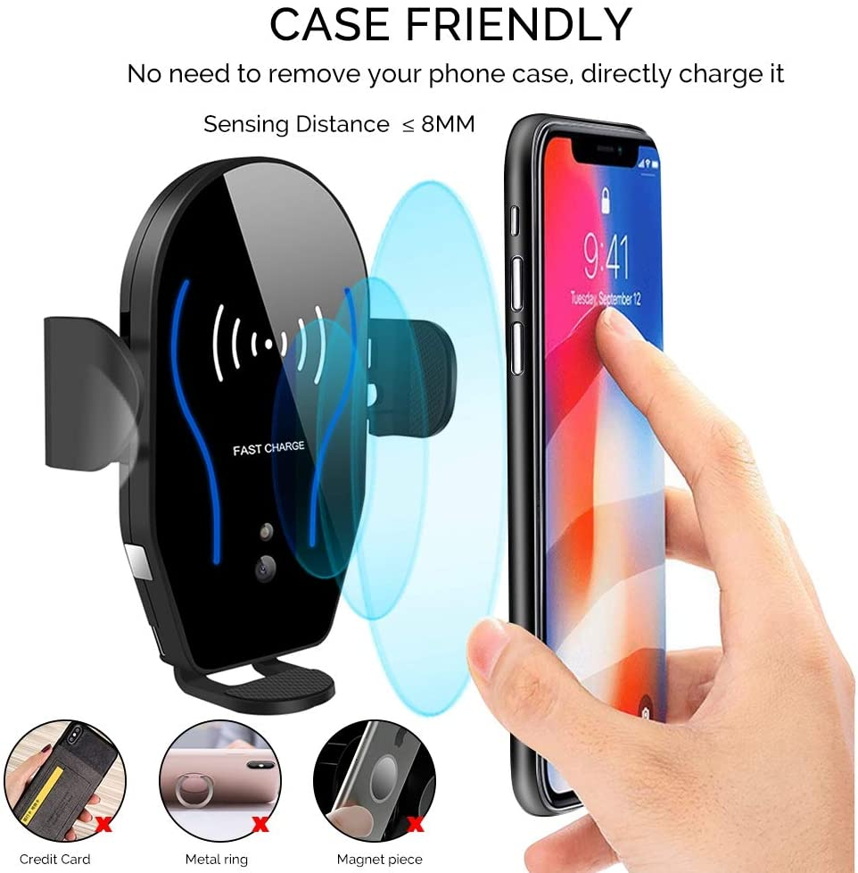 Wireless Car Charger Mount, WALOTAR Auto-Clamping Qi 10W 7.5W Fast Charging Car Phone Holder Air Vent Compatible with iPhone 12/12 Pro/12 Pro Max/11/11 Pro/11 Pro Max/X/XR/Xs/Xs Max/8/8 Plus, Samsung S10/S10+/S9/S9+/S8+