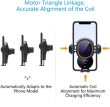 Load image into Gallery viewer, WALOTAR Wireless Car Charger, Triangle Linkage Auto-Clamping 10W Qi Fast Car Phone Mount Dashbroad Windshield Air Vent Holder Compatible with iPhone 11 Pro Max Xs XR X 8,Samsung S10 S9 S8 Note 10 etc
