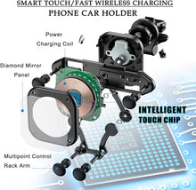 Load image into Gallery viewer, Wireless Car Charger 15W Touch Sense Auto Clamping Car Mount Air Vent Phone Holder 360° Rotation Qi Fast Charger Stand fits iPhone 12 Pro Max/11 Pro Max/Xs/Xs Max/XR/X/8 Samsung Galaxy S20/S10/S9/S8 etc