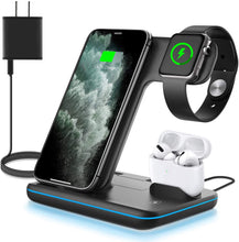 Load image into Gallery viewer, WALOTAR Wireless Charger, 3 in 1 Qi-Certified 15W Fast Charging Station for Apple iWatch Series SE/6/5/4/3/2/1,AirPods, Compatible for iPhone 12/11 Series/XS MAX/XR/XS/X/8/8 Plus/Samsung (Black)