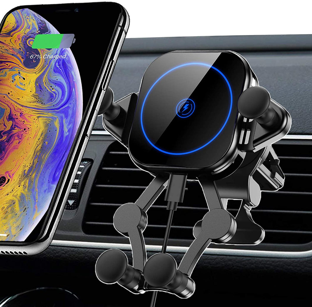 Wireless Car Charger 15W Touch Sense Auto Clamping Car Mount Air Vent Phone Holder 360° Rotation Qi Fast Charger Stand fits iPhone 12 Pro Max/11 Pro Max/Xs/Xs Max/XR/X/8 Samsung Galaxy S20/S10/S9/S8 etc