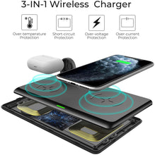 Load image into Gallery viewer, Wireless Charger,WALOTAR 3 in 1 Wireless Charging Station for iPhone 12/12 Pro/12 Pro max/11/11pro/Se/X/XS/XR/Xs Max/8/8 Plus Apple Watch AirPods 2/Pro, Wireless Charging Pad for Samsung Galaxy S20/S10