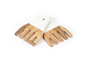 Open image in slideshow, hands Salad Server Set olive wood Made In France with color handle