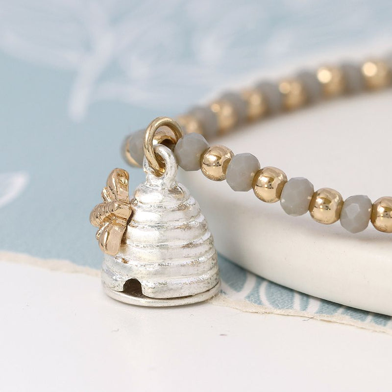 Bracelet with a Silver Plated Beehive Charm and Bee.