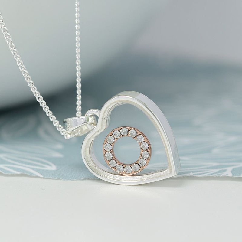 Silver Plated Necklace with a heart shaped frame