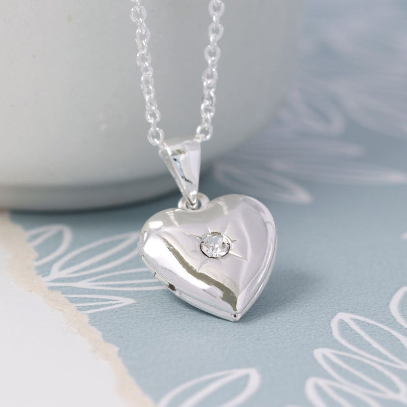 Silver Plated Necklace with Heart Locket