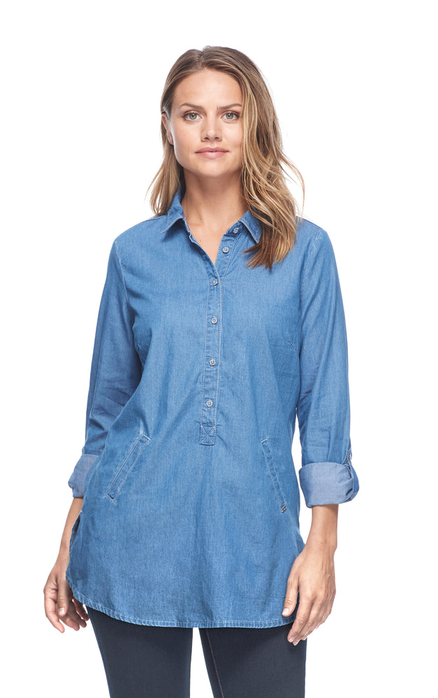 Load image into Gallery viewer, Popover Denim Tunic