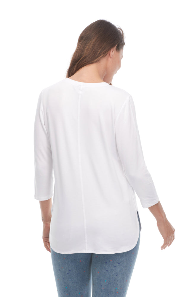 Back of white v-neck top with long sleeves, online clothing stores Canada