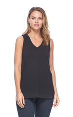 Black v-neck sleeveless top on woman from Pazazz clothing