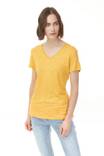 Pazazz elevated tee in yellow with v-neck woman's clothing
