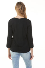 Back of pima cotton shirt in black with long sleeves ladies clothing store
