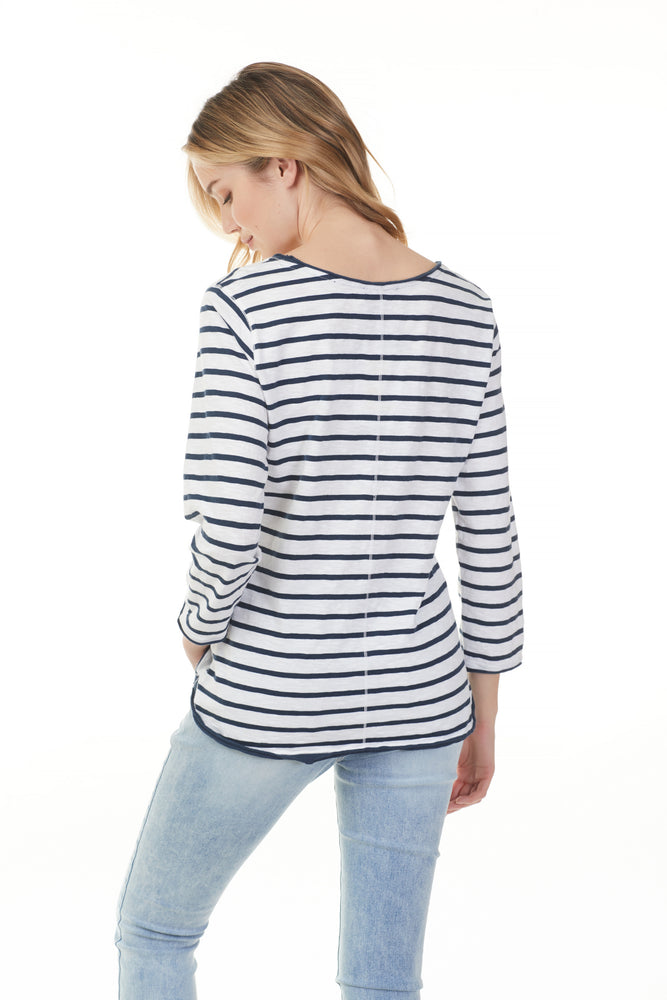 Horiztonal stripped cotton long sleeve from Pazazz clothing