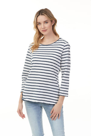 Load image into Gallery viewer, Fashion Ontario nautical pima cotton shirt from Pazazz with black and white stripes