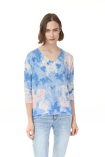 Blue, pink, and white cloud print quarter sleeve shirt from Pazazz Shelburne