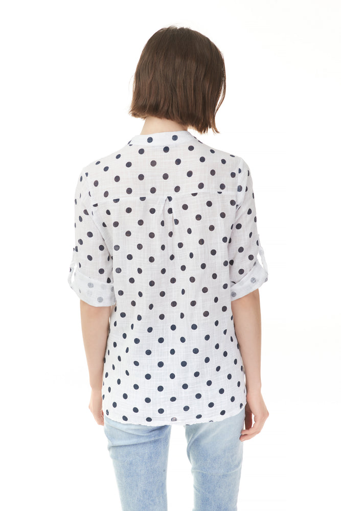 Back of polka dots popover blouse with cuffed sleeve from Pazazz Shelburne