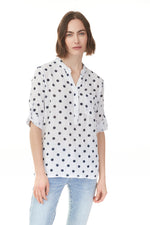 Shop ladies clothes at Pazazz for this polka dots popover blouse with v-neck and optional cuffed sleeves