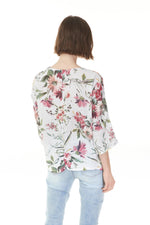 back of fiesta floral print top with red flowers, Pazzaz Shelburne