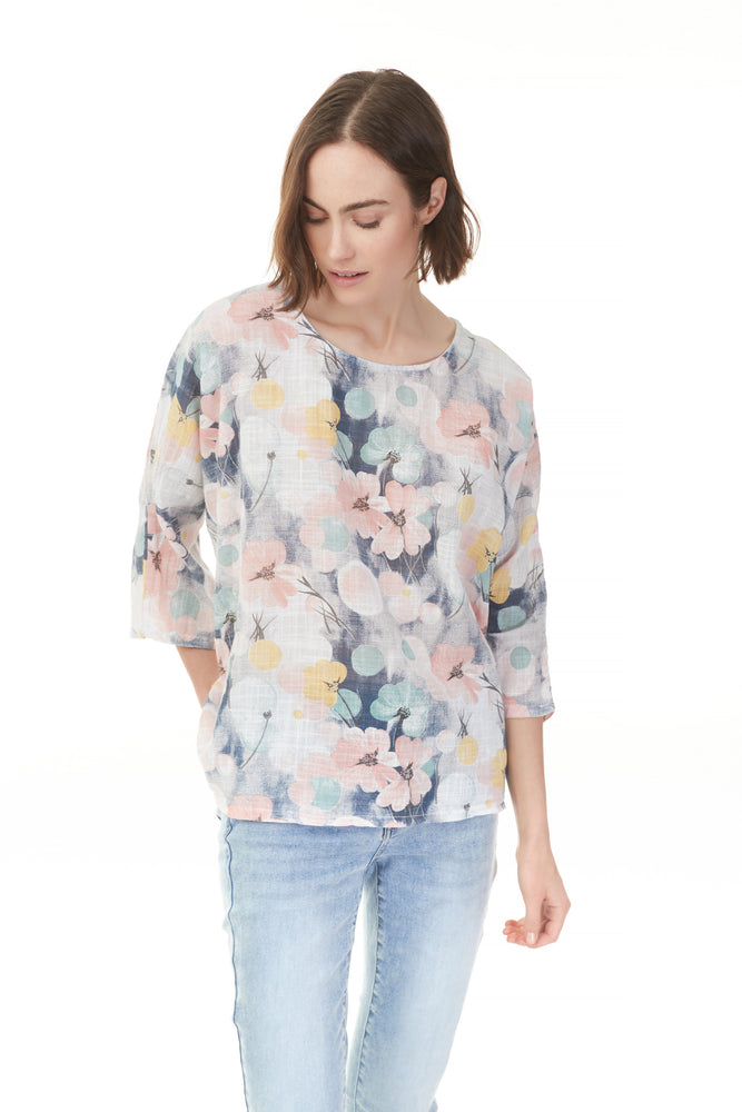 Pazazz foam floral print top with quarter sleeve and scoop neck, ladies wear