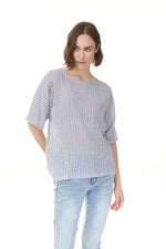 Denim stripe gauze top on woman, Pazazz clothing shop online