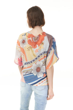 Back of poppy print top, Pazazz ladies clothing store