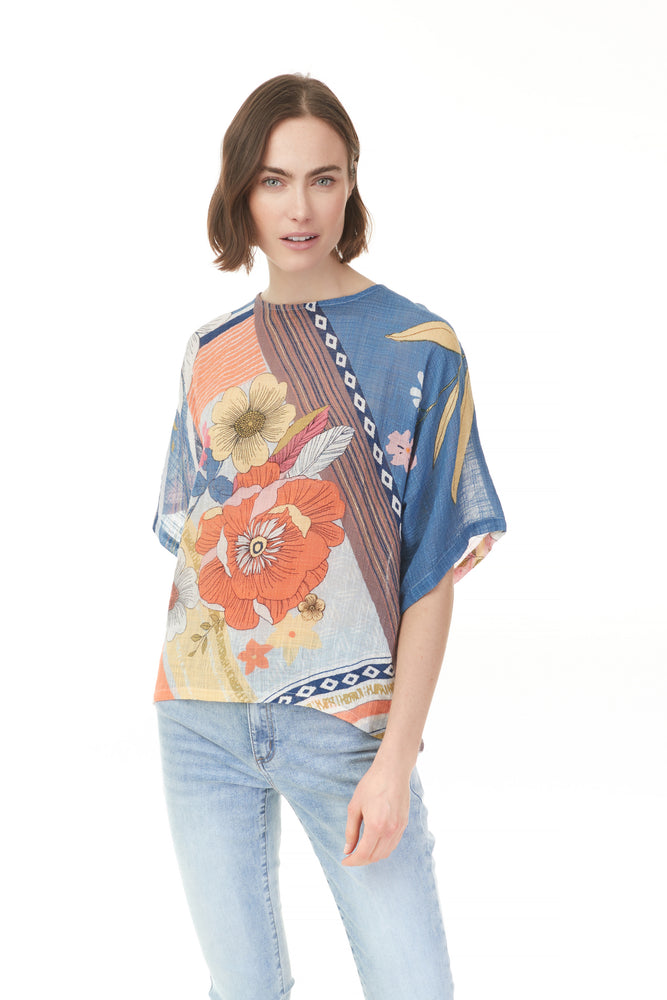 Poppy print loose tee with pattern details from Pazzaz clothing in Shelburne