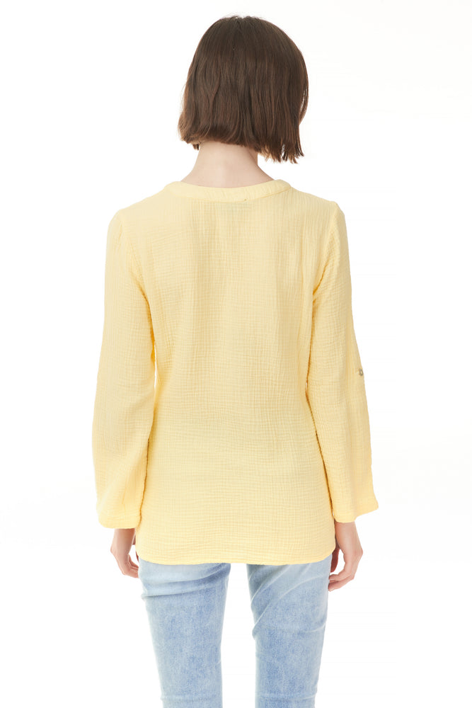 Back of yellow Pazazz popover blouse, woman's clothing online and in store