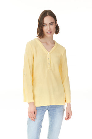 Yellow solid cotton popover blouse with v-neck, fashion Ontario Pazazz
