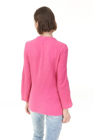 Pazazz clothing back of pink solid cotton blouse with option to cuff sleeves