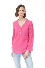 Pink cotton popover blouse with v-neck and 3 button detail from Pazazz, ladies wear