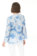 Blue tie dye cotton blouse, ladies wear Pazazz