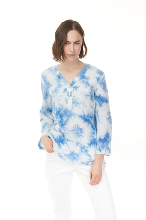 Pazazz blue and white long sleeve, v-neck, tie dye cotton blouse with 3 button detail