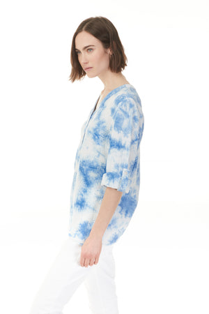Side profile of tie dye cotton blouse with cuffed sleeves from Pazazz, shop ladies clothes