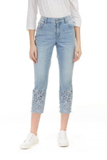Pazazz Shelburne cut out flower denim capris light blue