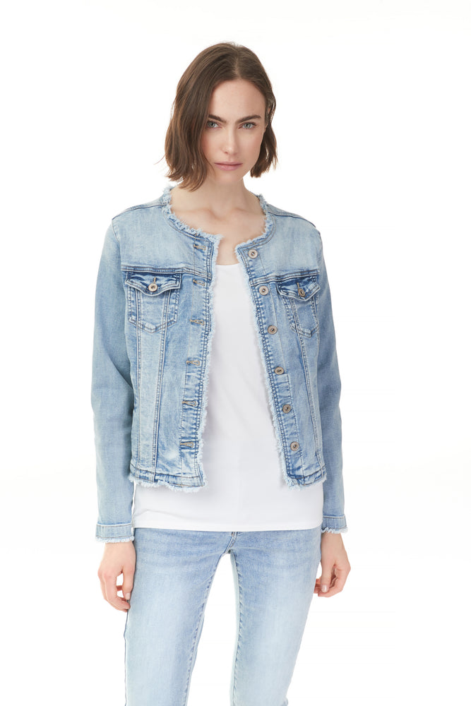 Woman in Pazazz light blue buttoned denim jacket