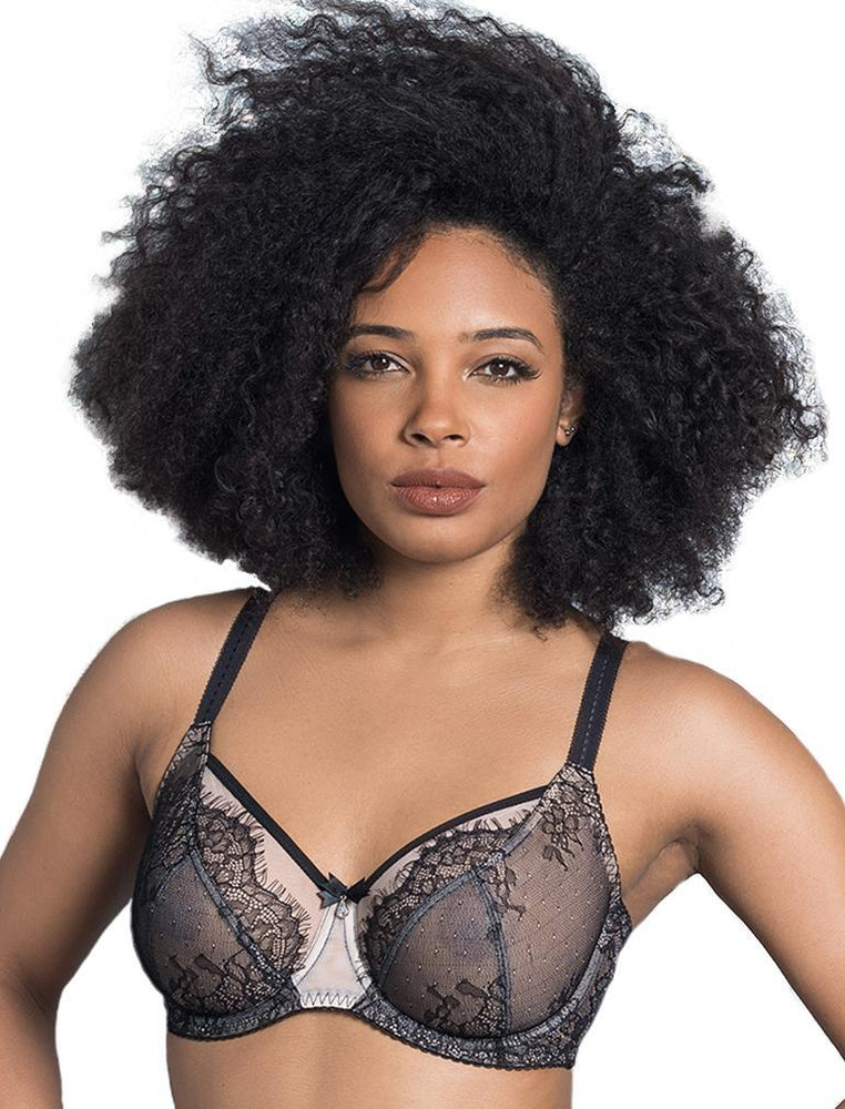 Black Ava See-Through Lace Bra
