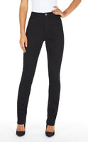 Black supreme denim, front view, Suzanne slim leg