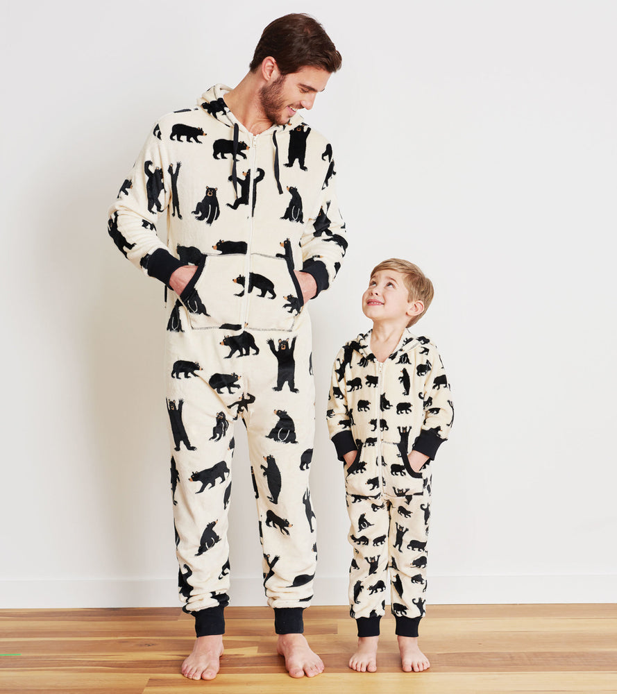 Man and boy in bear printed fleece jumpsuit for infants at Pazazz Shelburne