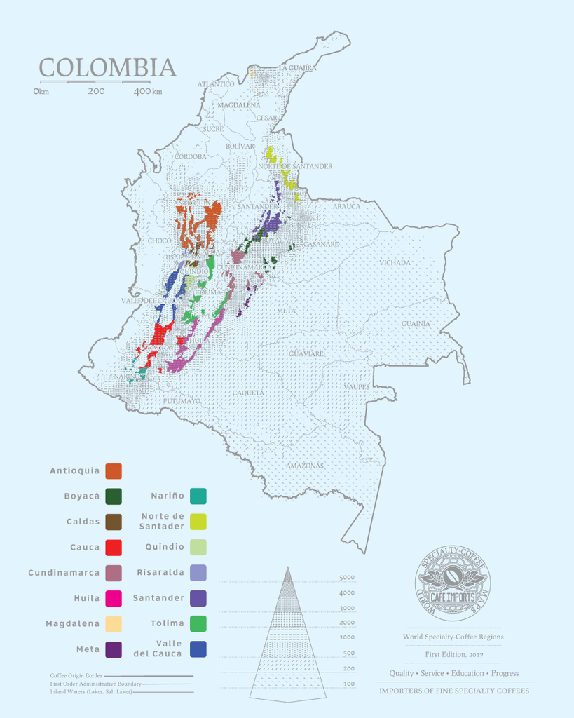 Map of coffee regions in Colombia