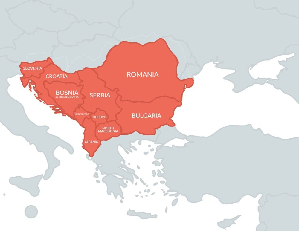 Map highlighting the Balkans in Europe