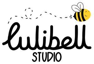 Lulibell Studio logo - hand written text that reads 'Lulibell Studio' with a smiling bee flying above with a wiggly trail following behind it