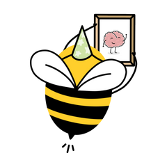 An illustration of a bumble bee wearing a green starry party hat, hanging a framed print of a brain illustration, by Lulibell Studio
