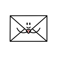 An illustration of a white envelope with a smiling face and arms, holding a heart where the envelope closes - by Lulibell Studio