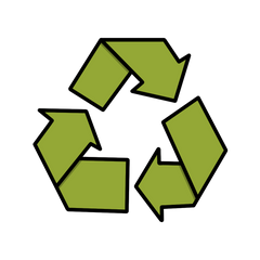 Illustration of the green recycling symbol  - by Lulibell Studio - Symbolising recycling packaging to be more eco kind