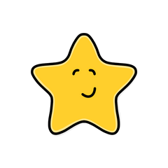 Illustration of a smiling gold star by Lulibell Studio