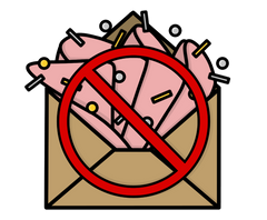 Illustration of a brown envelope with pink tissue paper and gold and silver confetti exploding out of the top with a red 'stop' sign over the top  - by Lulibell Studio - Symbolising reducing the amount of packaging we use to be more eco friendly by Lulibell Studio