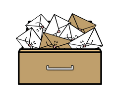 Illustration of a brown drawer with white and brown packaging bulging out of the top - by Lulibell Studio - Symbolising reusing packaging to be more environmentally friendly