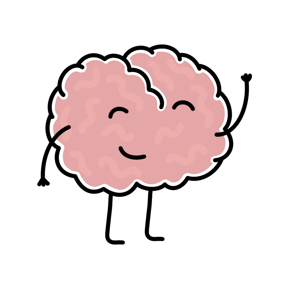 Illustration of a pink brain with arms and legs and a smiling face, waving at you - by Lulibell Studio